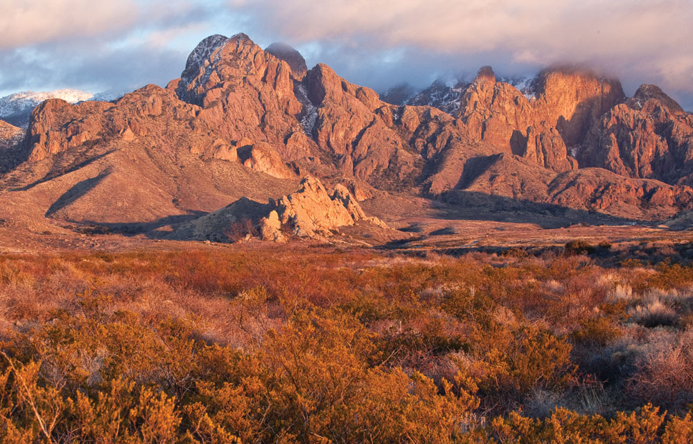 Cloaked in fall colors, the rocky spires of New Mexico's Organ Mountains rise 9,000 feet above the Chihuahuan Desert floor.