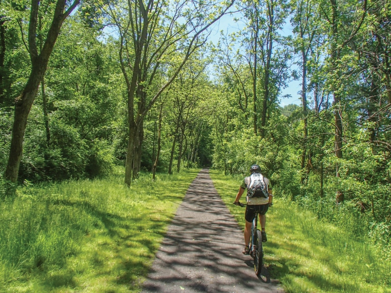 The scenic 57-mile-long New River Trail, a rails-to-trails bike path and state park, starts in Galax, Virginia.