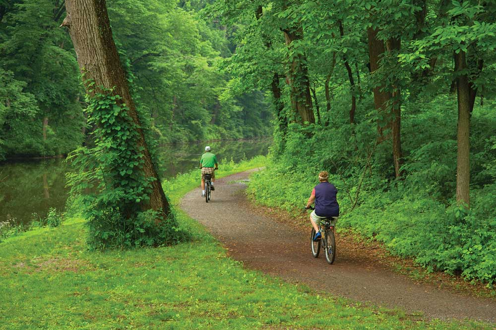 Two bicyclists biking along the Delaware River Canal towpath with lush green plants and trees