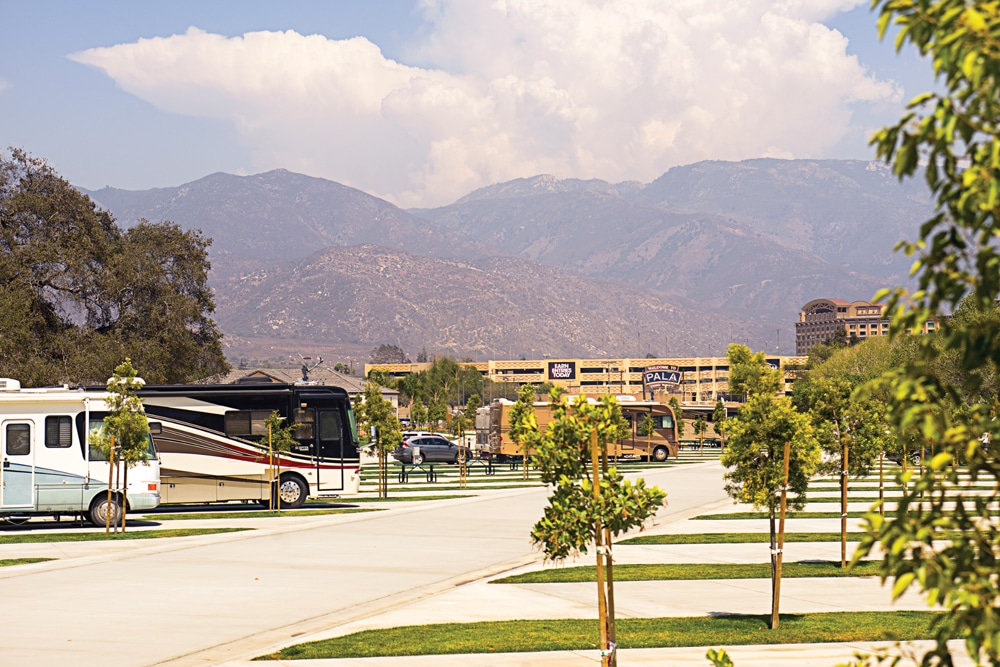 Pala Casino Spa Resort features a brand-new 10-acre RV park with 100 full-hookup sites outfitted with grass lawns and picnic tables.