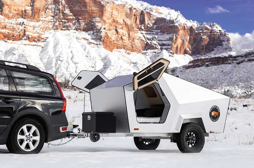 Polydrop Trailer with doors open in snow setting.