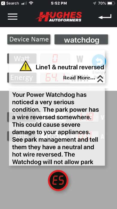 the app generates a notification on a smart device, and a very detailed message appears in the app.