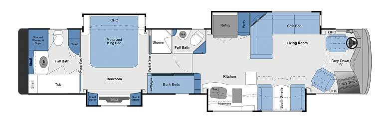 Foretravel Realm Presidential LVB floorplan