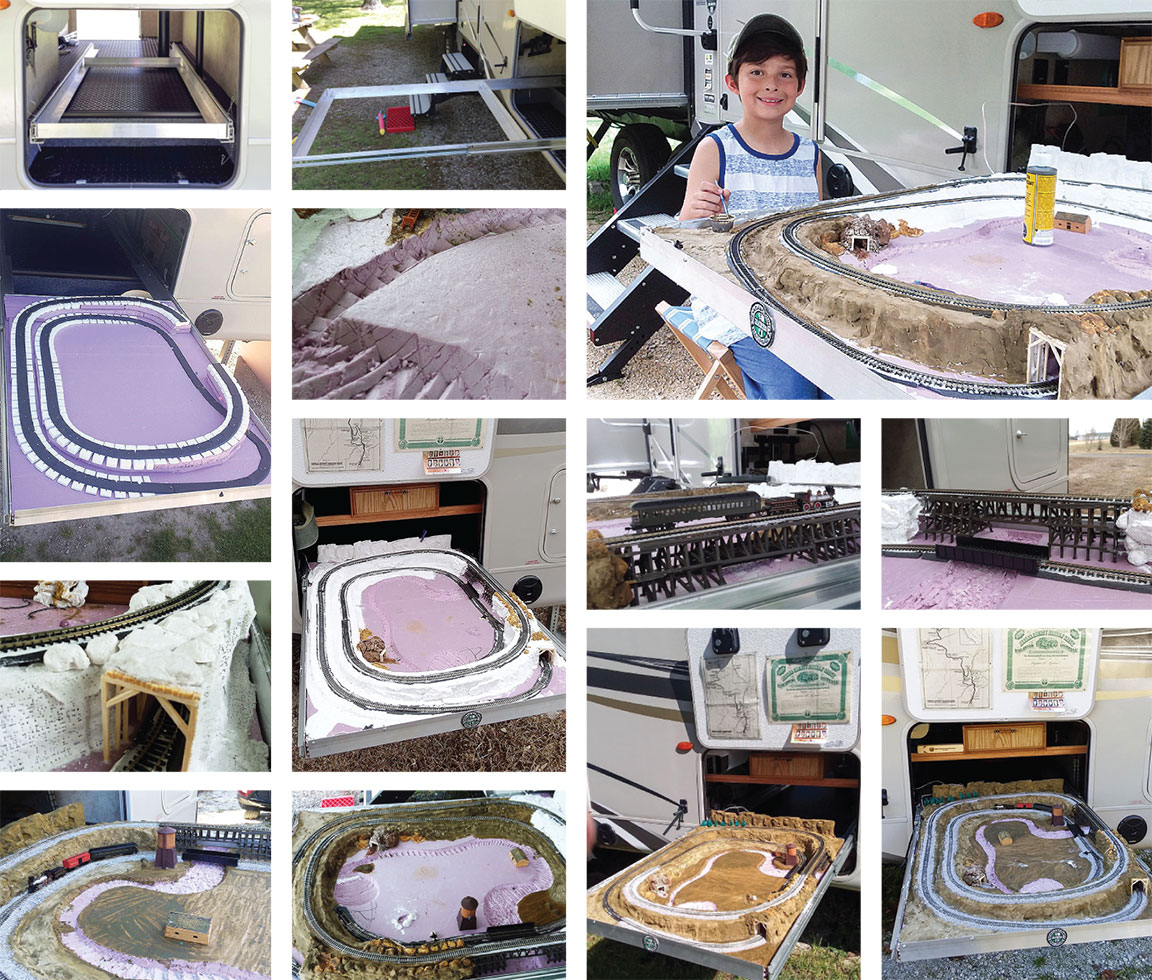 Collage of Steve Knoederer's model train project with grandson in top right.