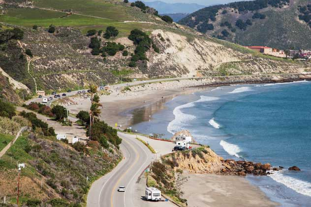 Below the road to Point San Luis Lighthouse, RVs park along Avila Beach Drive, named for its quiet seaside terminus just north of Pismo Beach.
