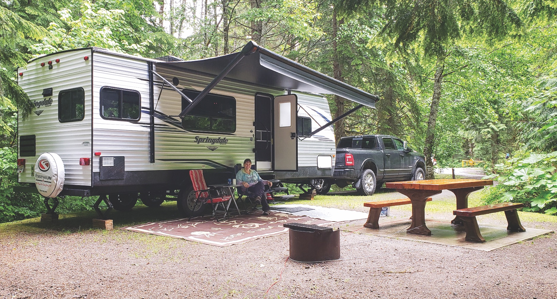 Women RVer at a campground