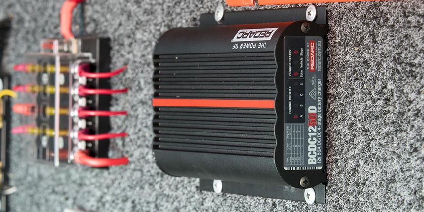 Black DC-to-DC charger installed