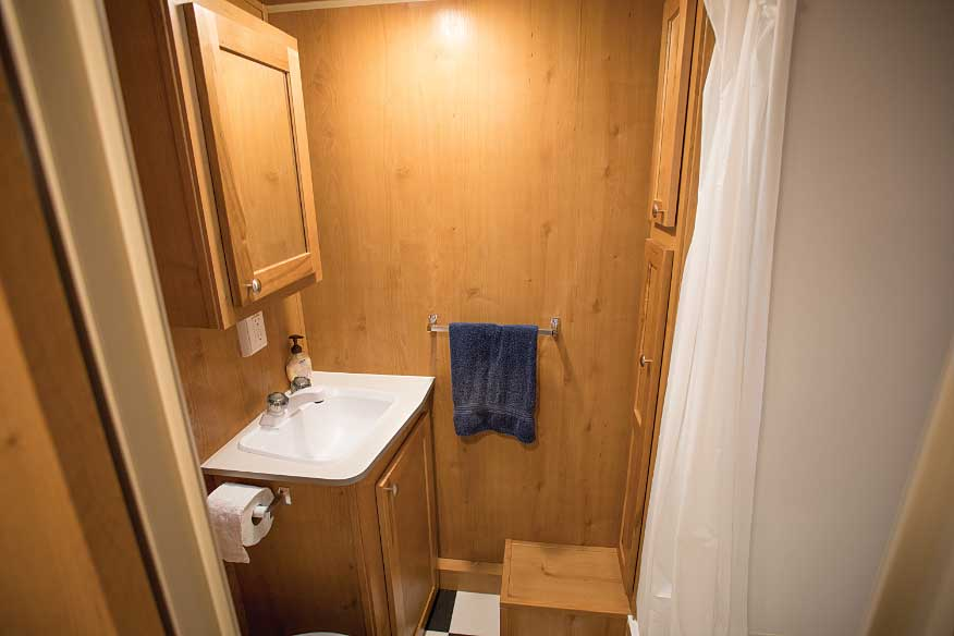 A deep linen closet and full-size shower contribute to a good RV-bathroom experience.