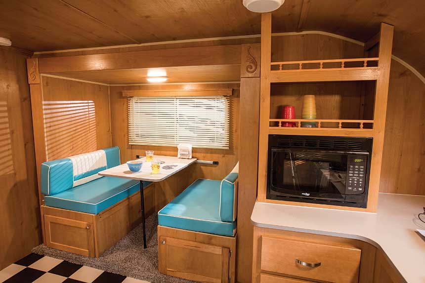 Riverside RV's Retro 199FKS features a fun throwback-diner feel, with its white-and-aqua decor.