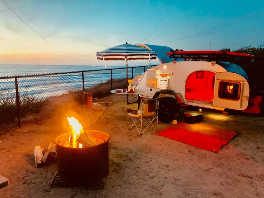 So-Cal Kascade tiny trailer and campfire