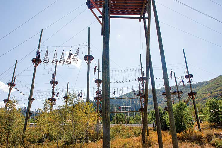 The rope course at Utah Olympic Park.