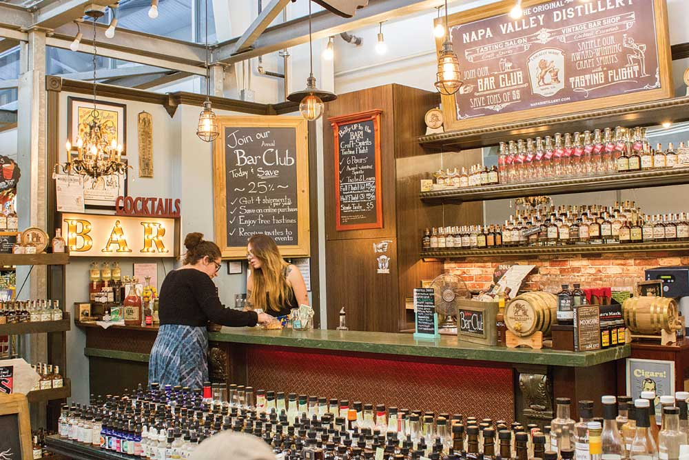 The Napa Valley Distillery's Tasting Salon in Oxbow Public Market reportedly has the largest collection of artisan cocktail bitters and syrups in the world.