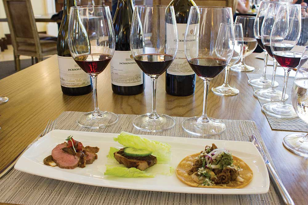 The wine and food pairing at Kendall-Jackson included three items served with red wines: pinot noir with duck breast, syrah with pork belly sliders and cabernet sauvignon with lamb tacos.