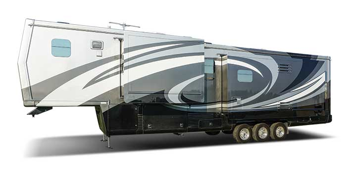 Side view of fifth wheel travel trailer