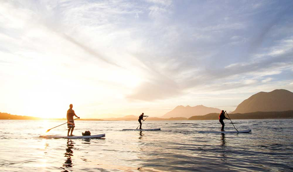 Paddleboarders enjoy the waters off Vancouver Island