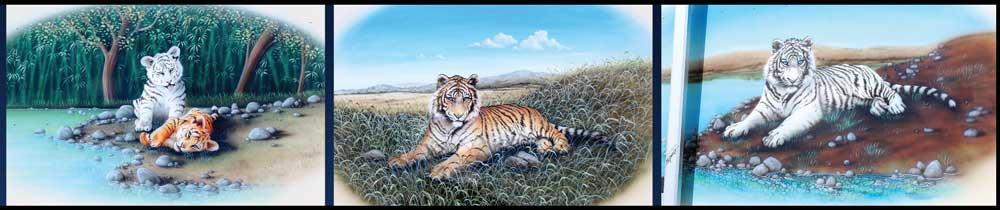 Wildlife murals, like these three tiger-themed masterpieces by artist Randy Nagle, are synonymous with the Safari brand.