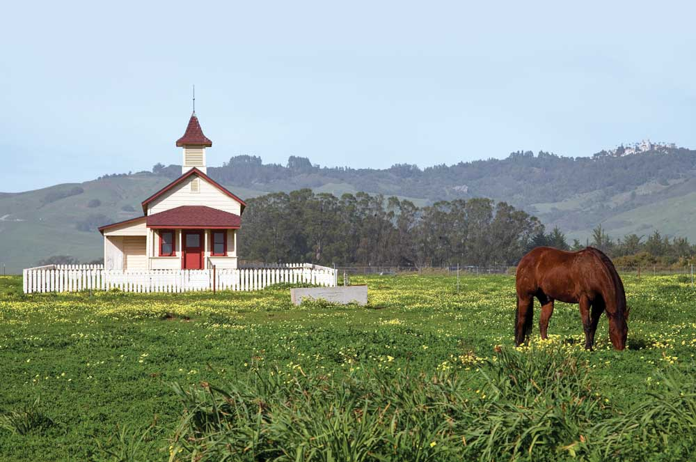 Patrons at Sebastian's in San Simeon enjoy a view of hilltop Hearst Castle. A mercantile store opened in 1852, Sebastian's now serves as a tasting room for Hearst Ranch Winery.