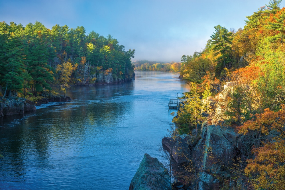 Near the town of Taylors Falls, the St. Croix Scenic Byway parallels the eponymous river.