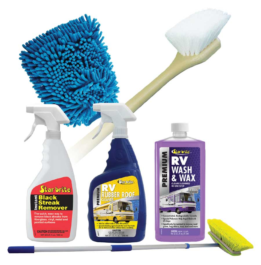 A montage of Star-brite cleaning products for RVs