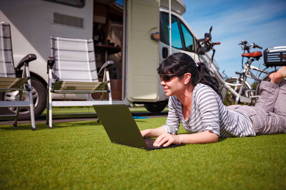 Woman internet campground