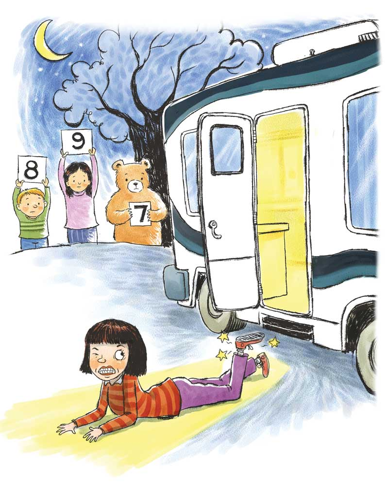 illustration of a girl falling out of a motorhome and being graded by friends and animals