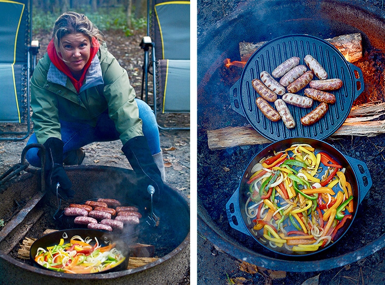 Woman cooking bell peppers and sausages outdoors with Cook-It-All