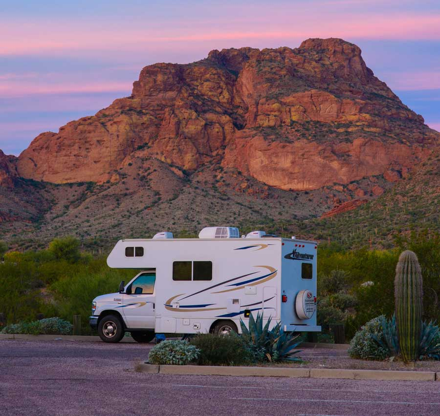 Sunset with motorhome in Sonoran Desert