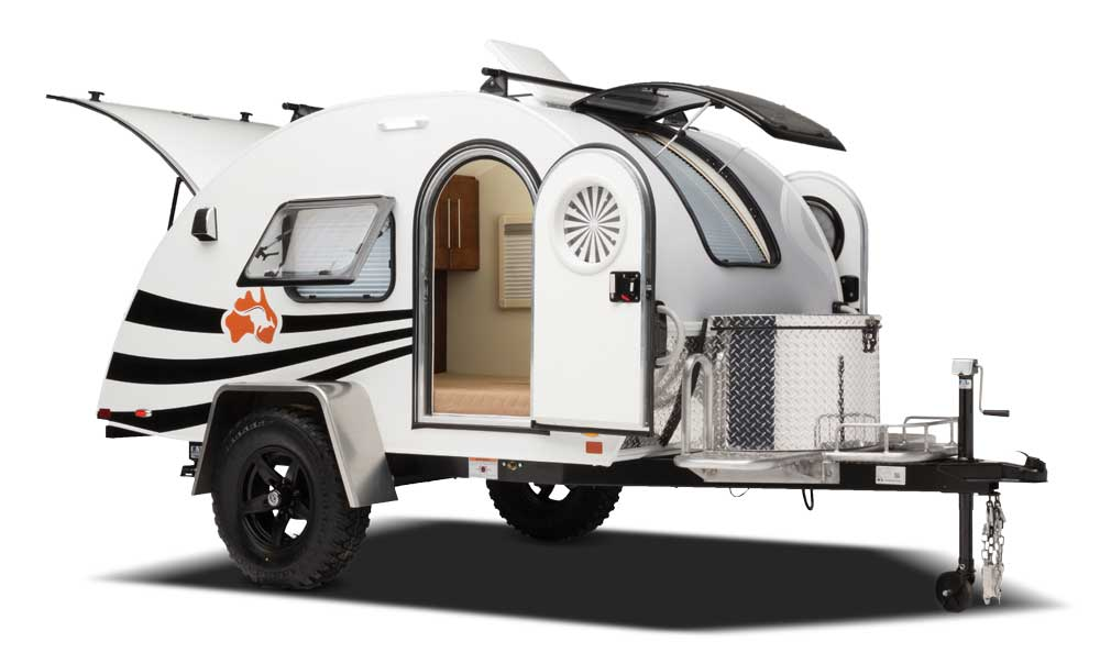 Bug shaped nüCamp T@G travel trailer with drop shadow