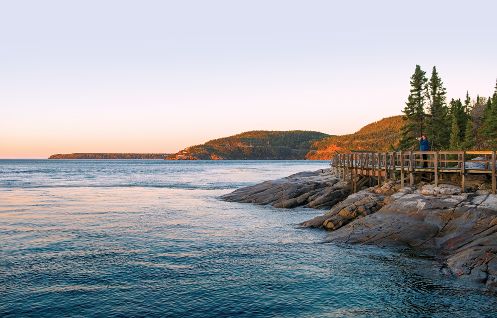The Saguenay River flows into the St. Lawrence next to the village of Tadoussac. To appreciate the area's natural beauty — and possibly glimpse a whale — take a stroll along the boardwalk.