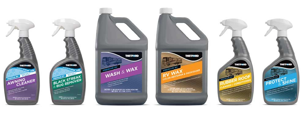 A montage of Thetford cleaning products for RVs