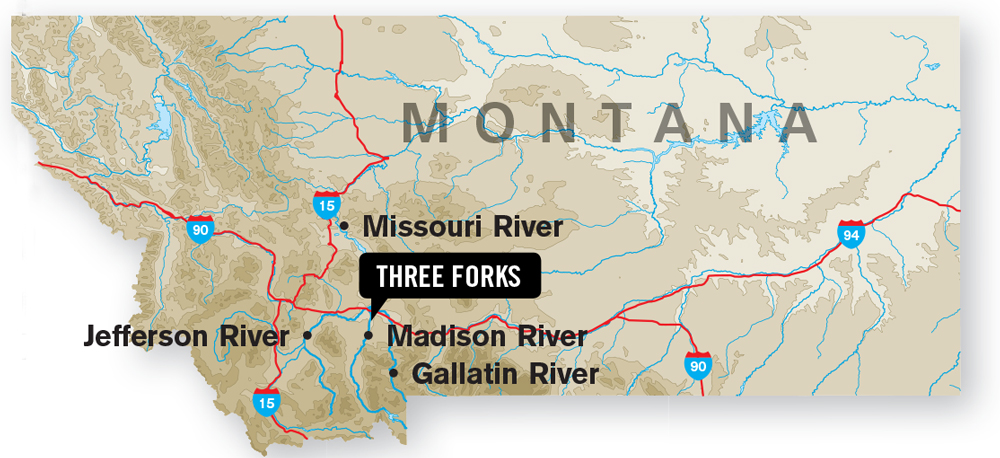 Three-Forks-Montana-Map