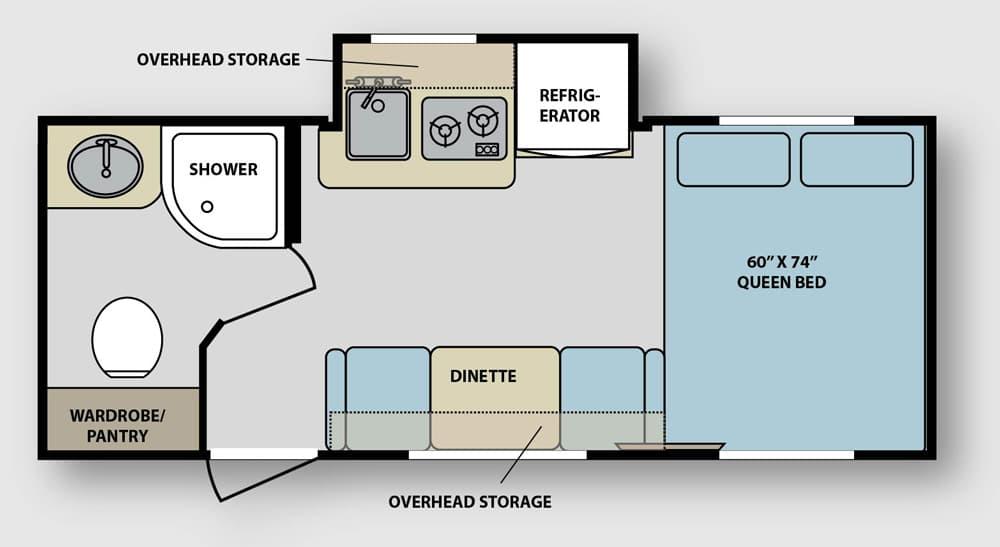 RV floor-plan showing dinette and bedroom