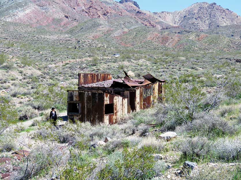 Rusted metal buildings are all that remain of short-lived Leadfield, a mining-town-cum-ghost-town that is reachable from Titus Canyon Road.