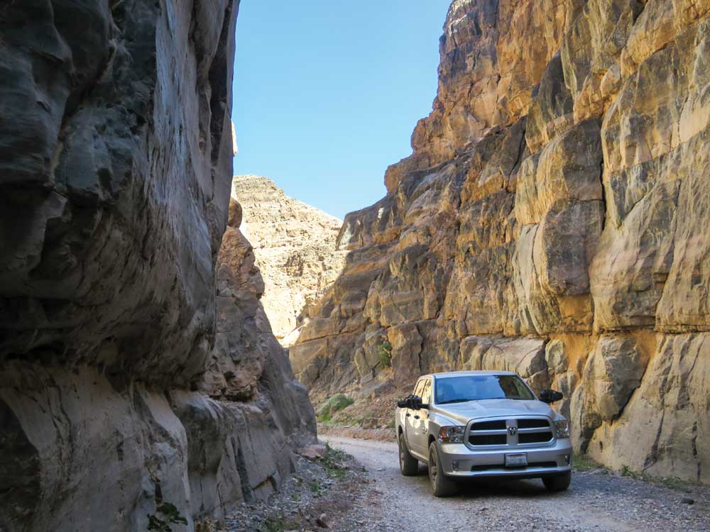 Leave your RV at the campground before navigating the tight passages and towering rock walls of the Titus Canyon Narrows, a spectacularly scenic but challenging backcountry stretch.