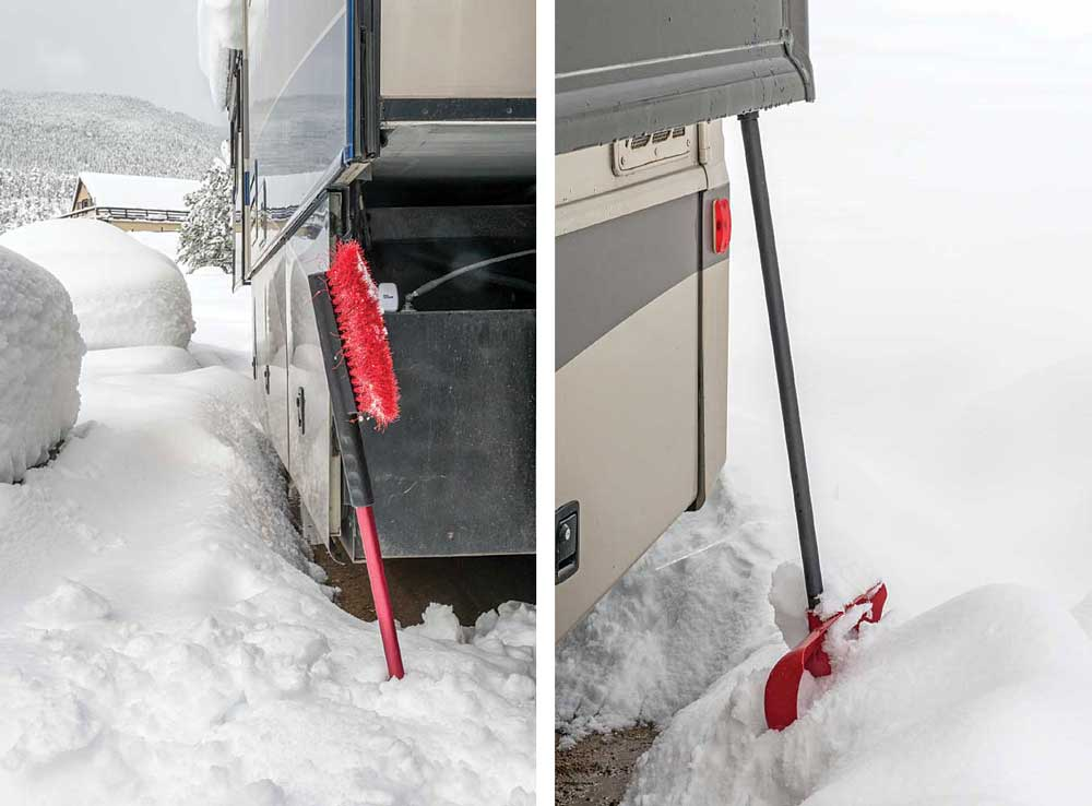 A long-handled brush and a snow shovel are valuable tools after the snow has fallen. Make sure they're easily accessible in the motorhome's basement storage for quick retrieval.