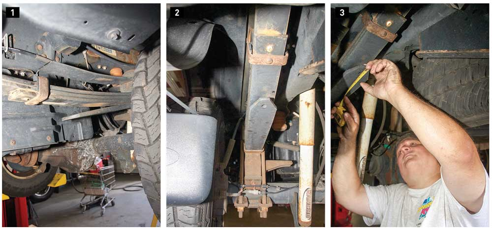 1) Heavy-duty pickups like the F-350 have a standard leaf spring, with an upper overload spring separated by a bushing, and another overload spring on the bottom where the lower StableLoad Quick Disconnect stabilizer was installed. 2) Many trucks come with a ½-inch hole drilled in the lower overload spring. The plastic plug is removed from the hole in this Ford F-350. 3) The lower overload spring is marked 3 inches from its end. Additional measurements are taken at the mark.