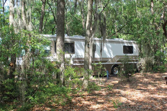 Some of the RV sites at Hunting Island State Park can accommodate motorhomes up to 40 feet in length.