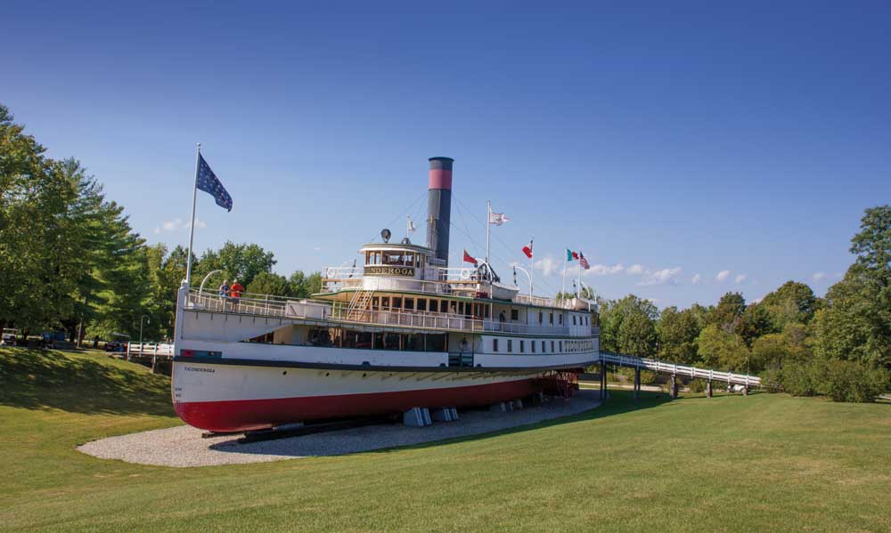 The 220-foot steamboat Ticonderoga on the Shelburne Museum grounds.