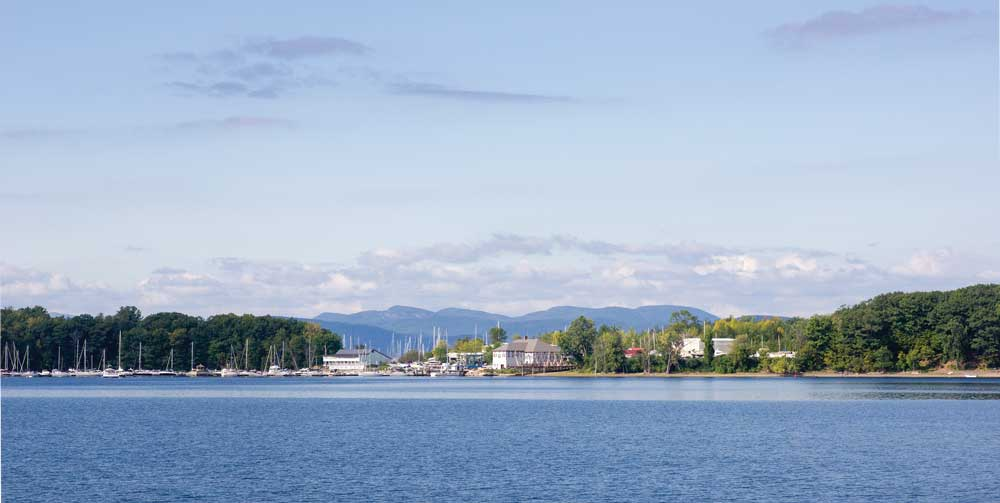 View of the Shelburne Marina from the Spirit of Ethan Allen cruise.