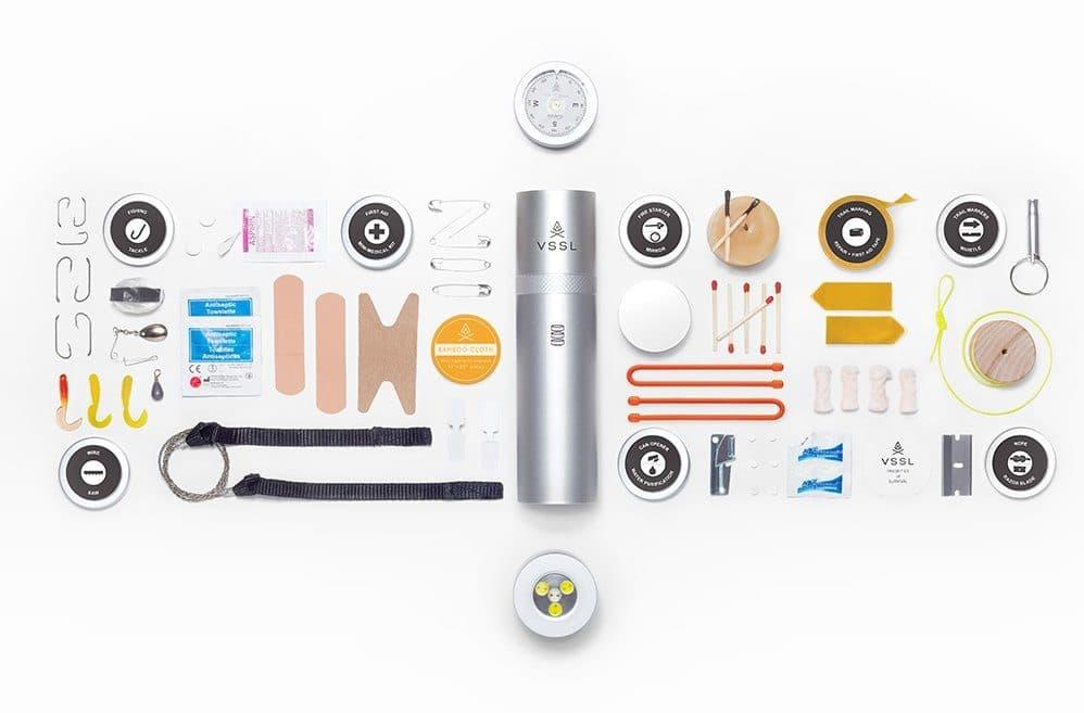 The Vessl camping tool kit in aluminum tube
