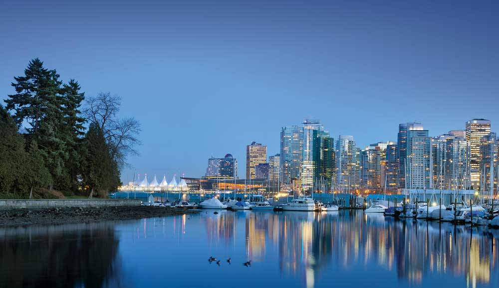 Seemingly in stark contrast to the lush rainforests, the dramatic skyline of Vancouver is impressive in its urban setting, befitting exploration of its own.