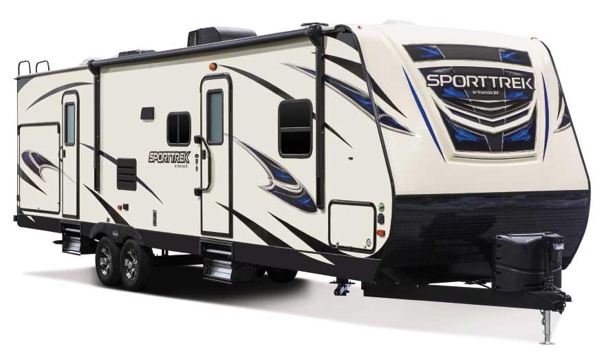 Tan and blue designed Venture RV SportTrek 322VBH trailer