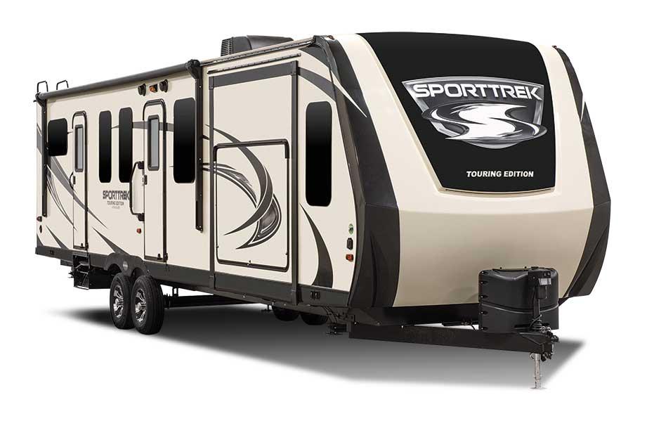 Beige and black designed Sporttrek fifth wheel