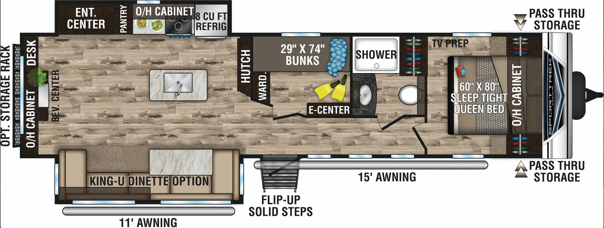 Floorplan for Venture RV SportTrek ST342VMB travel trailer