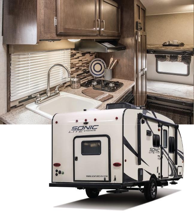Venture RV Sonic Lite exterior, kitchen and bunkhouse