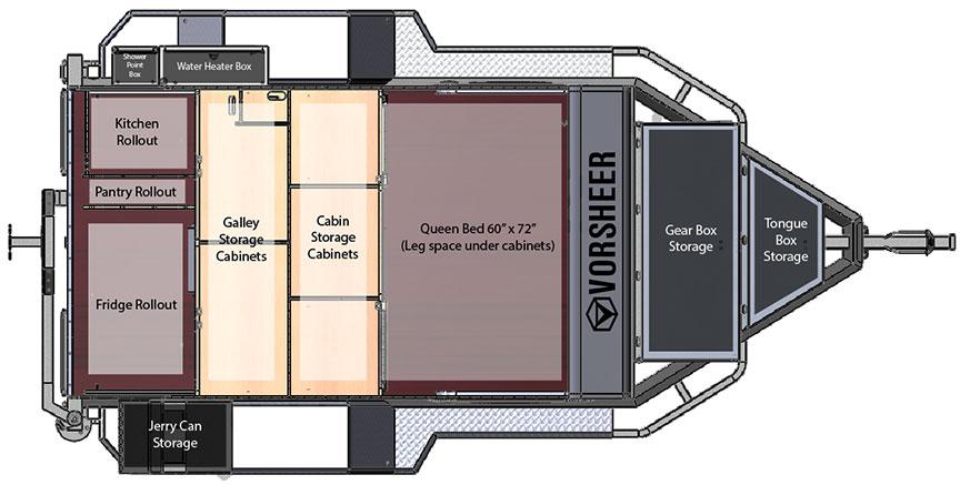 Floorplan showing queen bed, galley and storage.