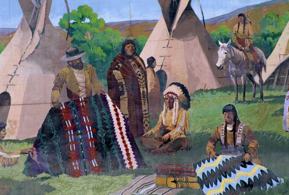 Blanket Traders mural, Yakama Indian Reservation, Toppenish, Washington