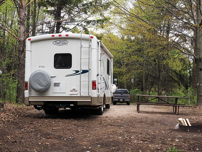 Door County's Peninsula State Park has one of the state's busiest public campgrounds, so make reservations early.