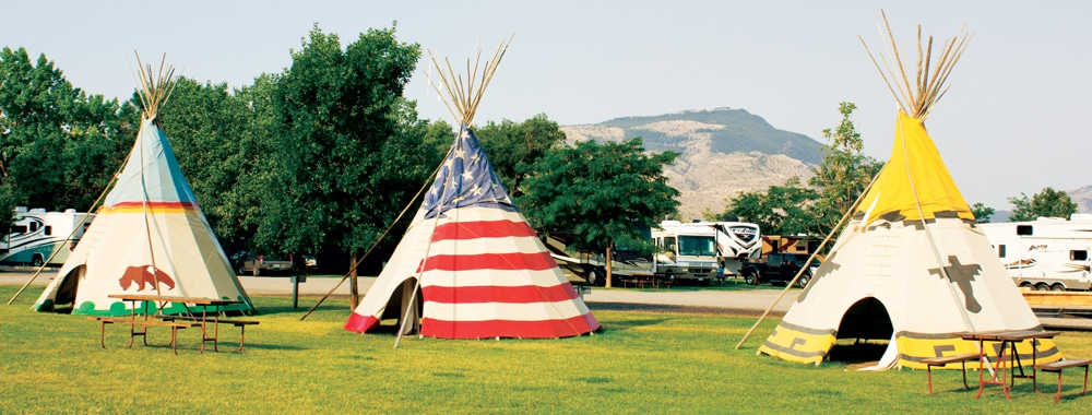 Guests at the Ponderosa Campground in Cody, Wyoming, can stay in their motorhome or a tepee.