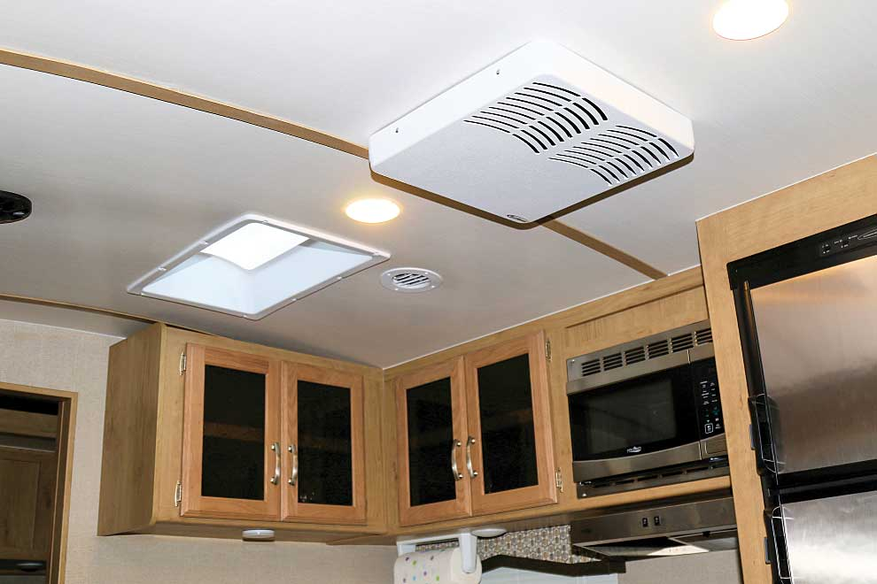 Phto shows the WackO RV A/C Silencer blends in nicely with the interior.